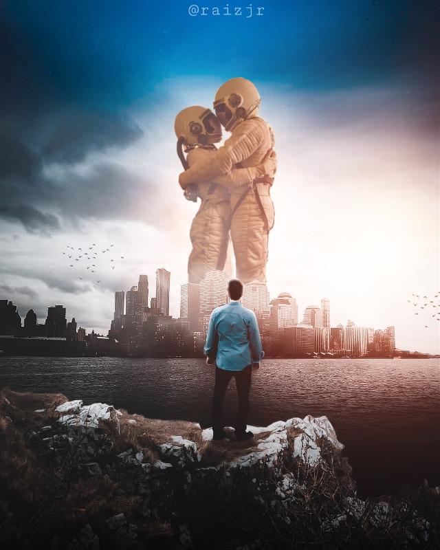 NO TITLE.  #picsart #madewithpicsart #madebyme #edit #editedwithpicsart #editedbyme #art #photography #instagram #surreal #surrealism #man #couple #kiss #friendzone #city #colors #skyline #rock #platform