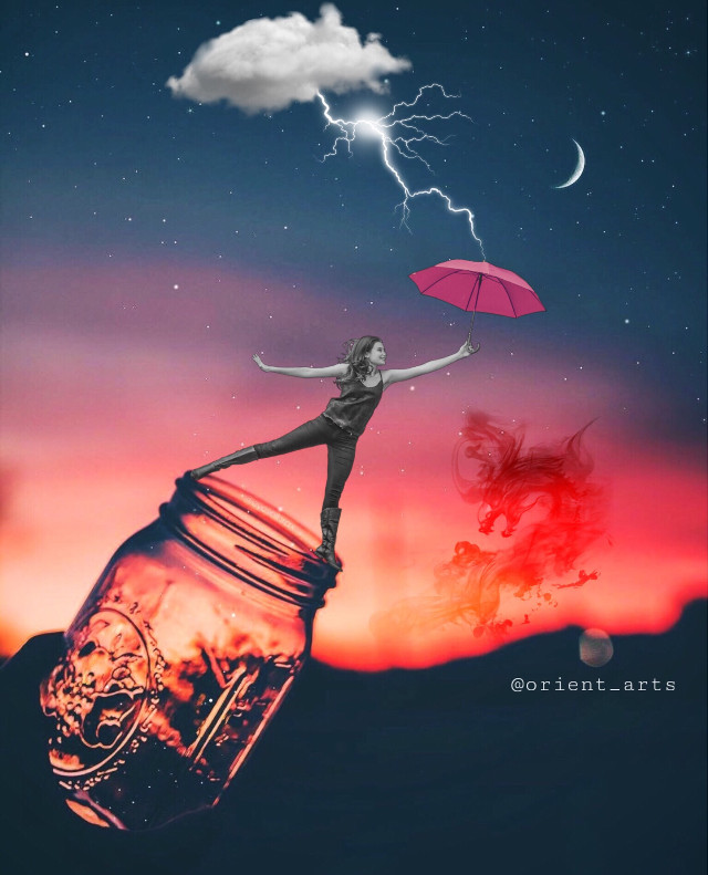 #remixit #freetoedit #girl #umbrella #nightsky #dragon #moon #lightning #cloud #stars #imagination #fantasy #picsat @picsart
