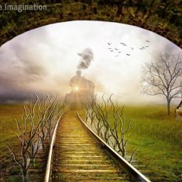 freetoedit multipleartistcollaboration train railroadtracks country