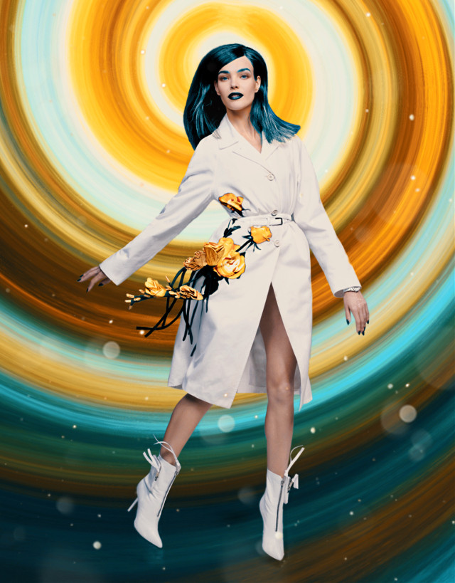 My first entry for the Vogue China contest. The background is my original work, made with Procreate. #freetoedit #vogue #magazine #model #editorial #photoshop #rose #yellow #blue #green #gold #white #dress #fashion #irccoverofvoguechina #coverofvoguechina #galaxy #space #abstract #procreate