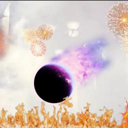 freetoedit fire firework planet asteroid