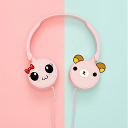 freetoedit kawaii rilakkuma music headphones