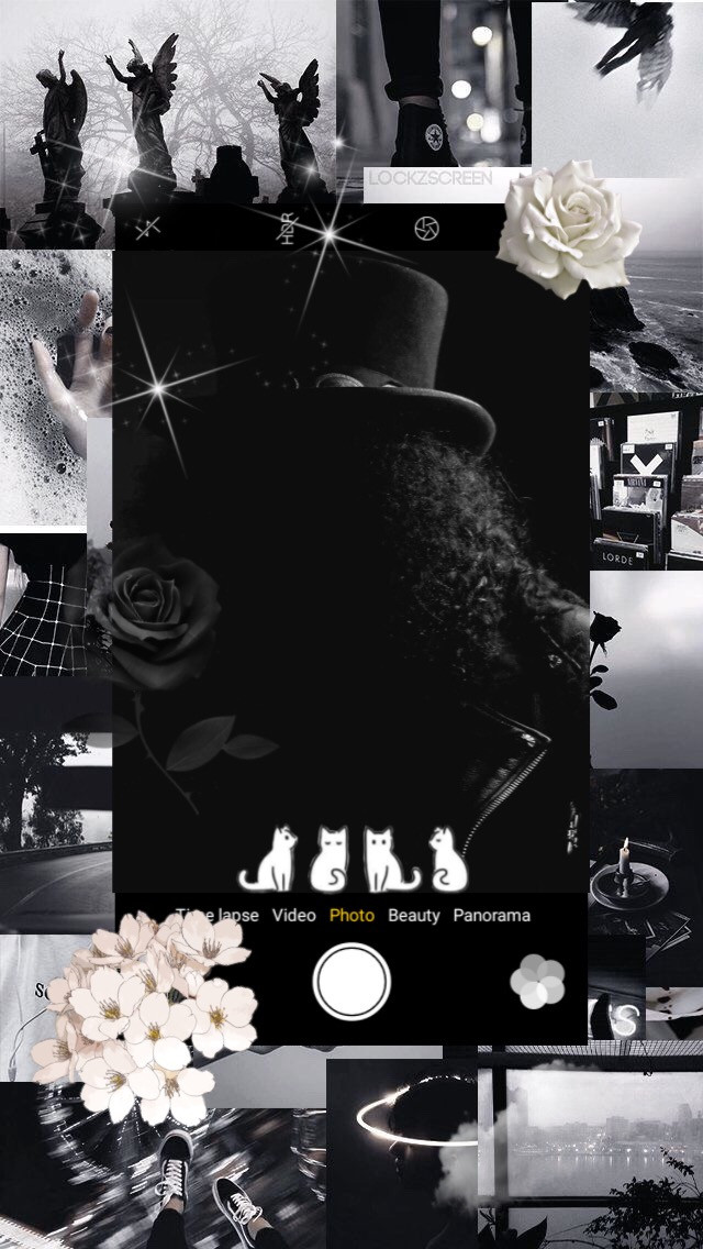 Slash black and white aesthetic wallpaper #freetoedit #slah #gunsnroses #rock #rockband #guitarist #80s #90s #aesthetic #wallpaper #black #white happy birthday, Slash!