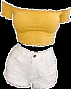 yellow crop croptop cute white freetoedit