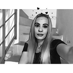 blackandwhite selfie edit crown portrait freetoedit