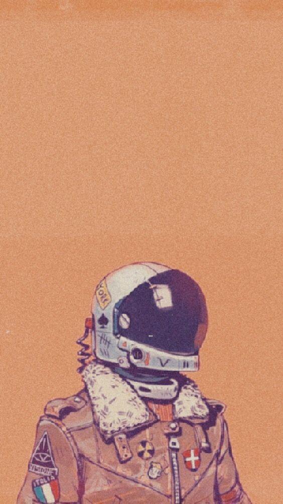 Aesthetic Wallpaper Iphone Orange Astronaut Space Freet