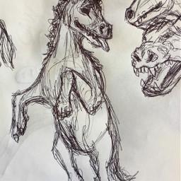 interesting art leafysart myart drawing doodle sketch horse animal fantasy carnivore pen