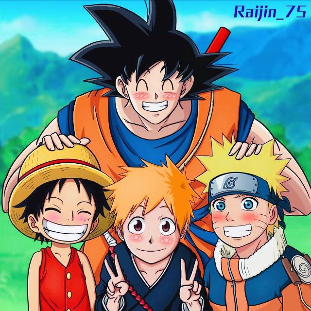 all my babies in one edit😊😁❤️💙🧡🖤#anime #dragonballz #onepiece #bleach #naruto