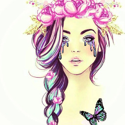 srcholographictears freetoedit unicorn butterfly flowers