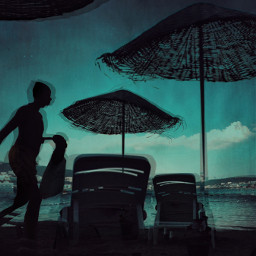 summertime silhouette umbrellas seaside