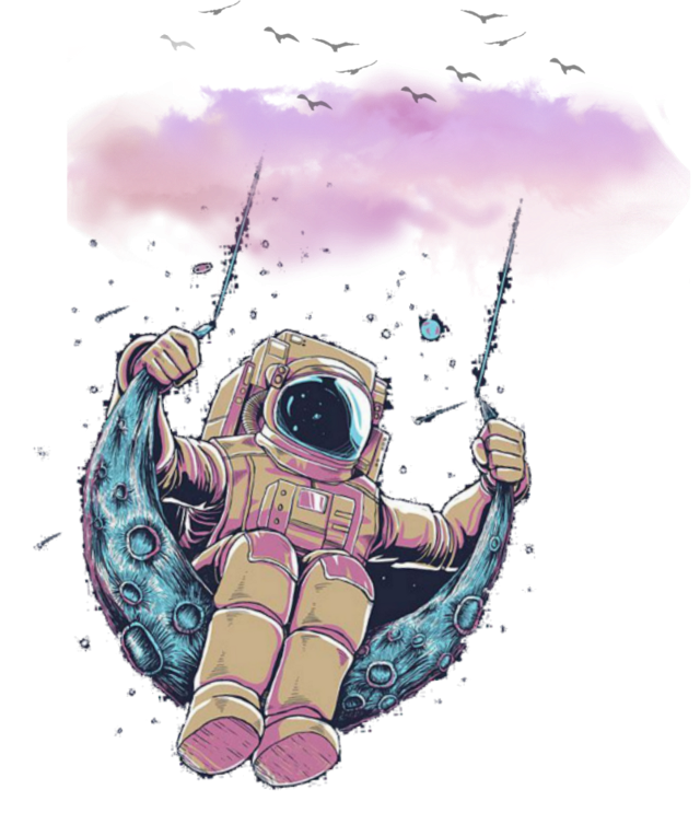 #nubes #rosa #astronauta #luna #espacio #fantasia #aves #columpio #volando #universo #cielo # @zeezii88