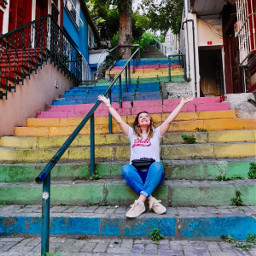 street stairs people istanbul