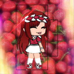 freetoedit red girl strawberries starry