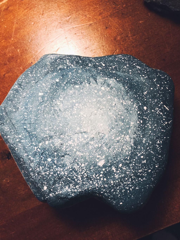 I painted a rock i found outside cause im just like that. Lmao i kind of like it    #rocks #painting #paint #galaxy #nebula #art #blue #aesthetic #lmao