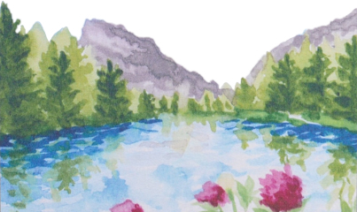 watercolor lake pond river water scenic freetoedit