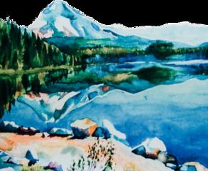 watercolor oregon mountain trees lake scenic freetoedit