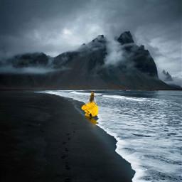 blacksand sea yellow girl girly freetoedit
