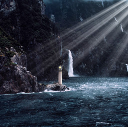 freetoedit lighthouse sea ocean waves