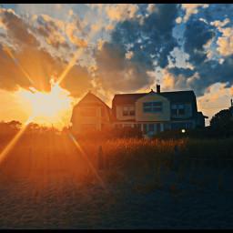 beach beachhouse eerie dusk clouds freetoedit