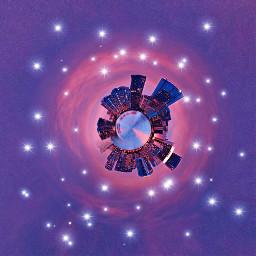 freetoedit tinyplanet colorfulcity sparklesandstarsmadebybrushes shadesofpinkandpurplebackground