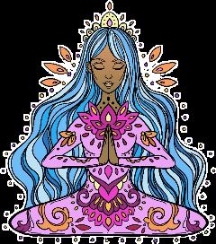 sticker girl bluehair meditation namaste freetoedit