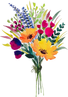watercolor flowers bouquet bunch arrangement freetoedit