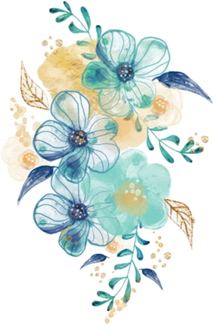 #watercolor #flowers #floral #bouquet #blue #teal #turquoise #gold #png