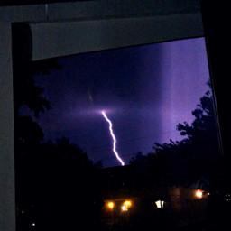 watercolor lightning storm night