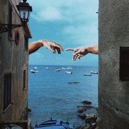 sea italy michelangelo hands blue freetoedit