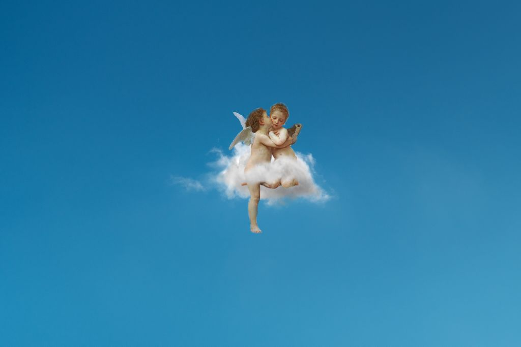 Cupido Angel Aesthetic Cloud Sky Background Wallpaper