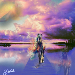 freetoedit remix horse clouds colorful