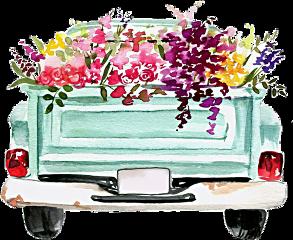 watercolor truck flowers vintage classic freetoedit
