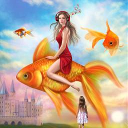 freetoedit whenigrowup fish girlinreddress
