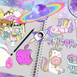 freetoedit kawaii space galaxy unicorn