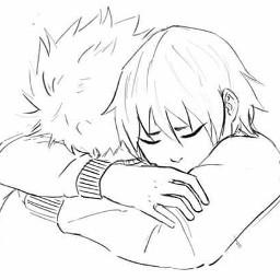 kiribaku fanart cute sweetmoment hug