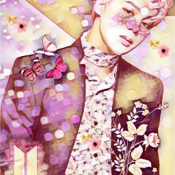 flower glittery pink chimmy bts freetoedit