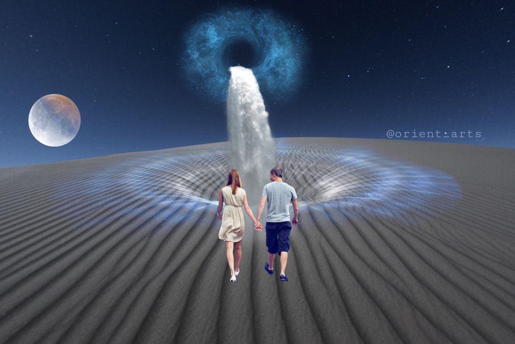 #surreal #desert #nightsky #walking #hole #waterfall #moon #imagination #fantasy freetoedit  #freetoedit #picsart @picsart