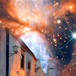 outerspace village nebula colorful doubleexposure freetoedit