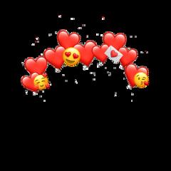 red emoji hearts love crown freetoedit