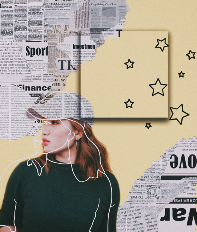 #freetoedit #sketch #art #girl #yellow #edit #edits #people #star #stars #nature #newspaper