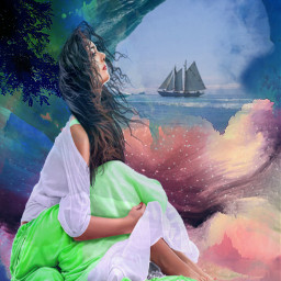 freetoedit female colorfulgarment cloudyday wind myeditoffreetoedit