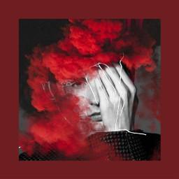 red man photography mist smoke freetoedit