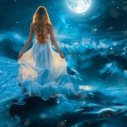 freetoedit moon moonlight moongirl fantasyart