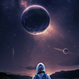 freetoedit man standing outerspace planets galaxy earth be_creative