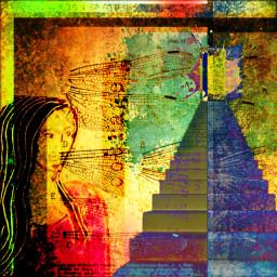 freetoedit stairway woman courage dragonflywings