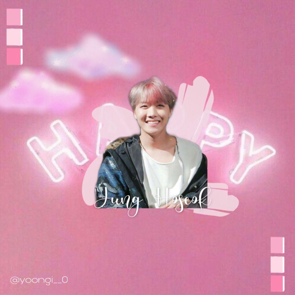 Happy jung hoseok 😌🌸✨   ;)   #junghoseok #bts#pinkpastel#aesthetic#hopeedit