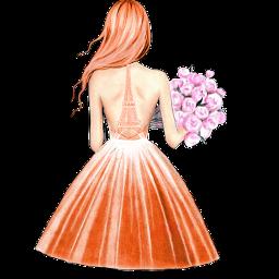 scorange orange freetoedit dress girl