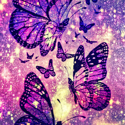 freetoedit glitter sparkle galaxy butterflies