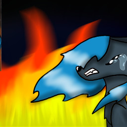 drawing wolf fire