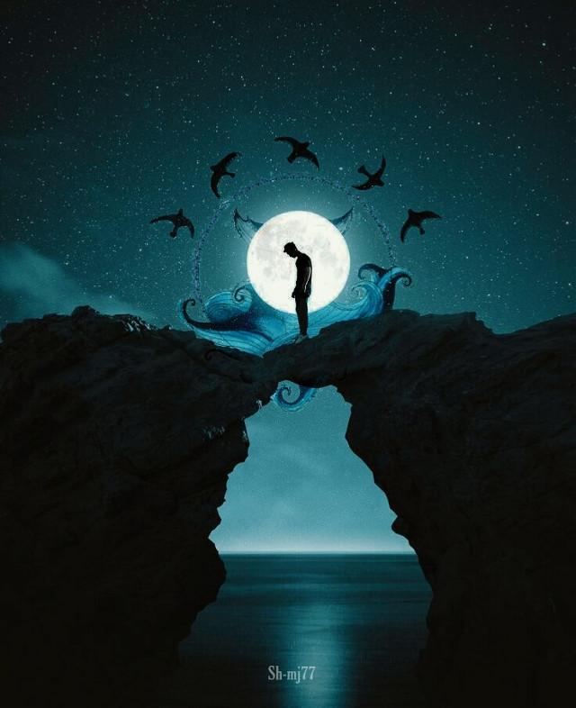 #freetoedit#birds#sea#hill#man#standing#blue#green#night#sky#stars#be_creative